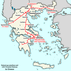 Natural gas pipelines in Greece. Revithoussa i...