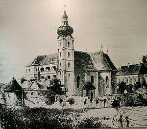 Cathedral of Hajdúdorog - The Greek Catholic Church in Hajdúdorog on an etching from 1859