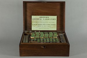 Chemistry set -  Griffin's Chemical Laboratory, Glasgow, ca.1850.