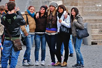 Demographics of Italy - A group of young people at Piazza del Popolo, Rome.