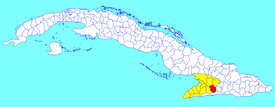 Guisa municipality (red) within  Granma Province (yellow) and Cuba