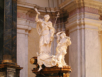 The Gospel (allegory) triumphs over Heresia and the Serpent. Gustaf Vasa Church, Stockholm, Sweden, sculpture by Burchard Precht GustafVasakyrkan RightAltargroup1.jpg