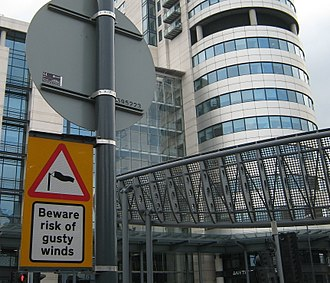 Bridgewater Place - Warning sign for pedestrians