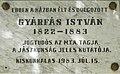 Gyárfás István emléktábla, Köztársaság utca 4, 2019 Kiskunhalas.jpg