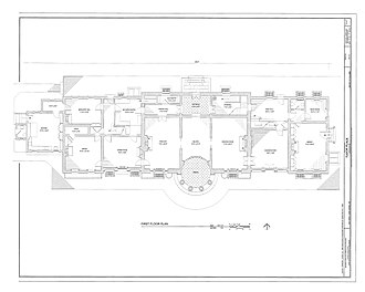Tudor Place - Image: HABS Measured drawing of Tudor Place Ground Floor Plan 1999