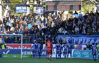 Helsingin Jalkapalloklubi - HJK supporters at the Telia 5G -areena.