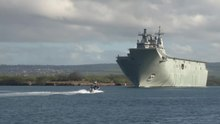 File:HMAS Canberra departing Joint Base Pearl Harbor-Hickam for RIMPAC 2016.webm