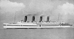 Hospital ship - RMS ''Mauretania'' as hospital ship HMHS Mauretania during World War I.