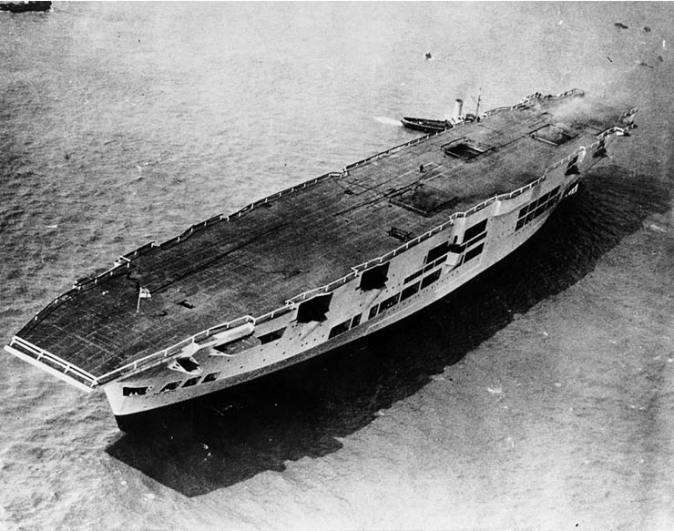 HMS Ark Royal (91) just after launching