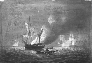 HMS Seahorse capturing the Badiri-i-Zaffer, 6 July 1808 RMG BHC0586.tiff