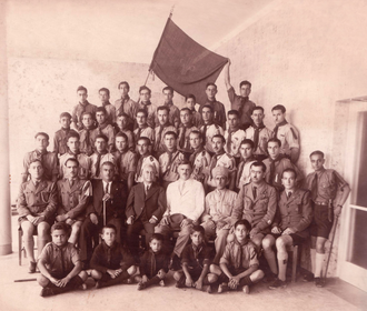 Catholic Scout Association in Israel - Image: Haifa Maronite Boy Scouts, 1939, Dr. John Macqueen Chief Medical Officer for Haifa