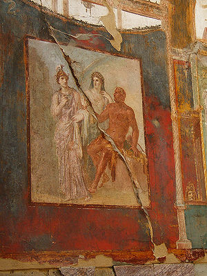 Hall of the Augustals (Herculaneum) - Hercules in Olympus with Juno and Minerva - Andy Hay via Wikipedia