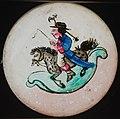 Handgeschilderde beweegbare lantaarnplaat met man op hobbelpaard, objectnr 34482-6(2).JPG