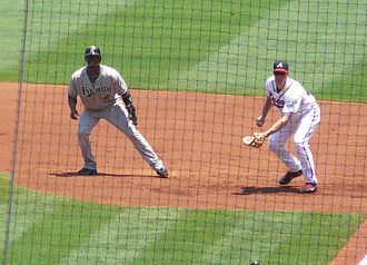 History of the Miami Marlins - Ramírez (left) leading off first against the Atlanta Braves in 2008.