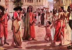 A coloured painting of Harishchandra parting with his wife and son