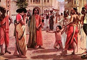 Raja Harishchandra - Painting by Raja Ravi Varma, depicting Harishchandra parting with his wife and son