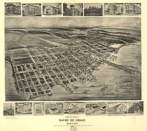 Havre de Grace, Maryland - Bird's-eye view of Havre de Grace in 1907