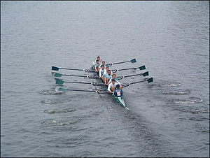 Head of the Charles Regatta - Queen's University Belfast, a crew from Northern Ireland, racing in the Head of the Charles in 2003