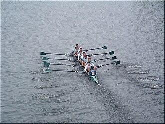 Head of the Charles Regatta - Queen's University Belfast, a crew from Northern Ireland, racing in the Head of the Charles in 2003
