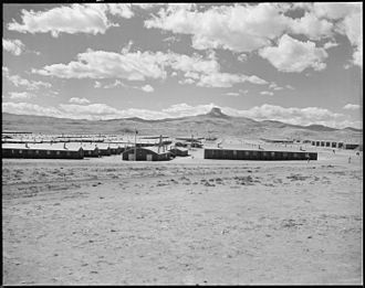 Heart Mountain Relocation Center - Heart Mountain, Wyoming. Looking west over the Heart Mountain Relocation Center with its sentry namesake, Heart Mountain, on the horizon. (NARA 538782)