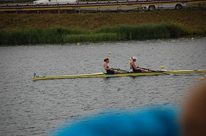 Helen Glover (rower) - Helen Glover and Heather Stanning at Dorney Lake during the 2012 Olympic Games.