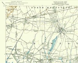 West Hempstead Branch - 1897 map of Hempstead, including the West Hempstead Branch before it was truncated south of Hempstead Avenue.