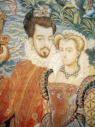Louise of Lorraine - Louise and Henry III, detail of the Valois Tapestries, Florence, Uffizi Gallery.