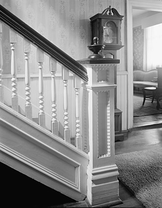 Antebellum architecture - The Herndon Glanton Reeves house, built in 1845 in Troup County, Georgia, was home to several prominent citizens and used as a hospital for both Confederate and Union soldiers during the Civil War. The detail on the staircase newel and on the wall are both common features of antebellum architecture.