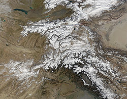 The Hindu Kush occupy the lower left centre of this satellite image.