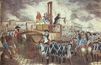 "Execution of Louis XVI - ""Execution of Louis XVI"" – German copperplate engraving, 1793, by Georg Heinrich Sieveking"