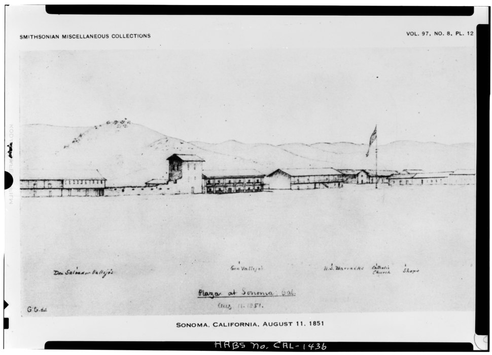 Historic American Buildings Survey George Gibbs Drawing of 1851 Smithsonian Miscellaneous Collection VIEW FROM WEST - Sonoma Plaza, Bear Flag Flagstaff, Sonoma, Sonoma County, CA HABS CAL,49-SONO,7-1