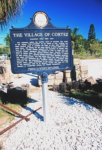 Cortez, Florida - Image: Historical marker for fishing village of Cortez, Florida