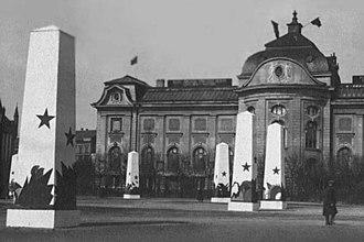Latvian Socialist Soviet Republic - Image: Holiday decorations to May 1. 1919. Riga (3)