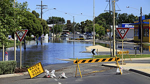 Horsham, Victoria - 2011 floods threatened the CBD.  This photo shows water levels at the south end of Firebrace Street from Hamilton Street