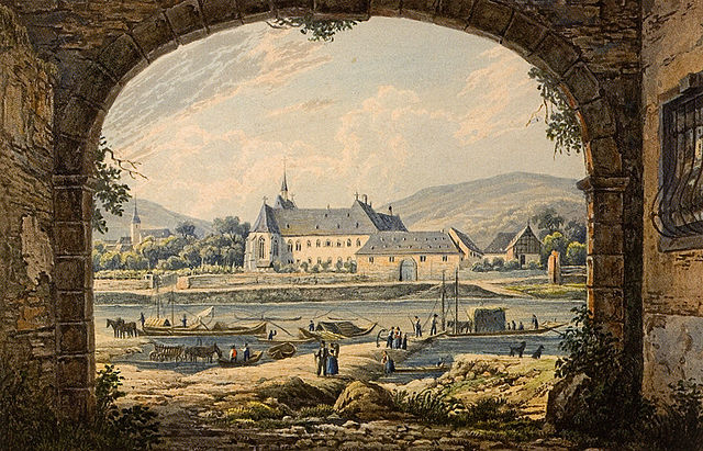 Cusanusstift in Bernkastel-Kues 1831. Aquatinta von F. Hegi nach einer Vorlage von Karl Bodmer, handkoloriert.