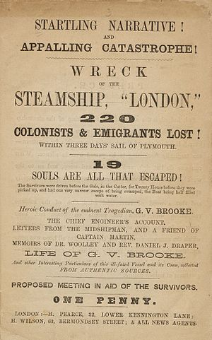 SS London (1864) - 1866 pamphlet describing the disaster
