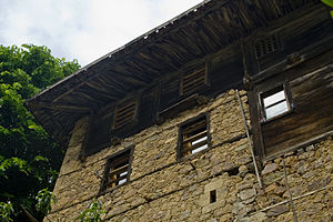 Bond beam - Traditional bond beams in the stone walls of an old house in the Çaykara village of Trabzon province, Turkey
