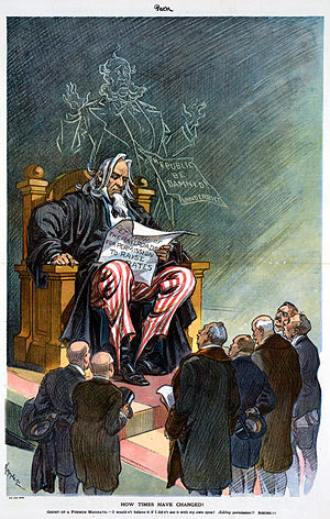Interstate Commerce Commission - A 1914 cartoon shows railroad companies asking the ICC (depicted as Uncle Sam) for permission to raise rates, while the ghost of a horrified William Henry Vanderbilt looks on.