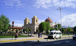 The Huancayo Constitución Square and Huancayo Cathedral
