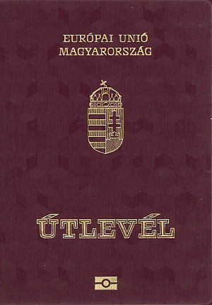 "Hungarian passport - Front cover of a contemporary Hungarian biometric passport. The word in Hungarian for ""Passport"", ""Útlevél"", literally means ""Road letter"""