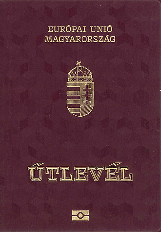"""Hungarian passport - Front cover of a contemporary Hungarian biometric passport. The word in Hungarian for """"Passport"""", """"Útlevél"""", literally means """"Road letter"""""""