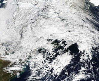 Meteorological history of Hurricane Sandy - Hurricane Sandy's remnants on November 2 over Eastern Canada, while being absorbed absorbed by another system to the north.