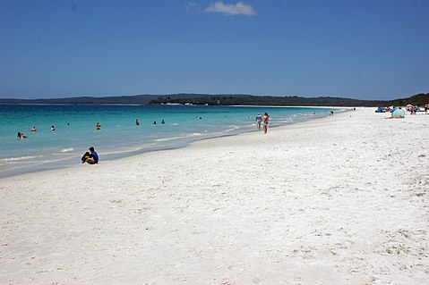 Hyams Beach, known for possessing fine, radiantly white sand. Hyams Beach 002.jpg