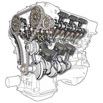 Multi-cylinder engine - A cutaway illustration of a V6, 24-valve, DOHC engine, an example of a Vee-configured six-cylinder engine.
