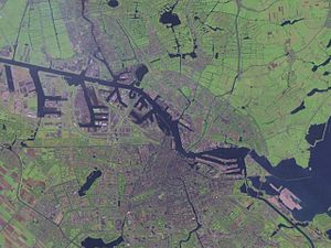 Port of Amsterdam - A satellite photo of the port of Amsterdam