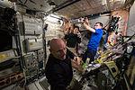 ISS-44 Scott Kelly, Kimiya Yui and Sergey Volkov in the Unity module.jpg