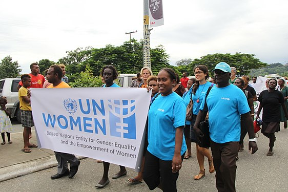 UN Women and UNICEF staff participating in the IWD 2014 parade. Photo: UN Women/Marni Gilbert IWD 2014- Parade, official launch, and UN Women stall (14229457541).jpg