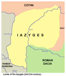 A quad-colored map, showing the Iazyges in yellow, Roman pannonia in grey, Roman Dacia in green, and the land of the Cotini in peach.