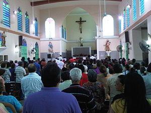 """Español: Iglesia San Miguel """"Quién como D..."""