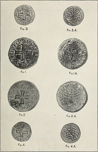 Portuguese real - Portuguese Malacca tin coins of King Emmanuel (1495-1521) and John III (1521-1557) period were discovered during an excavation near the Malacca River mouth by W. Edgerton, Resident Councilor of Malacca in 1900.